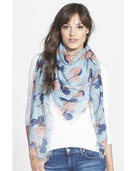 Tory Burch - Blue 'Primula Dot' Square Wool Gauze Scarf - Lyst