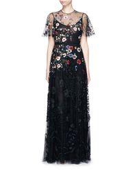 Valentino Black Floral Embroidery Bead Appliqué Tulle Gown