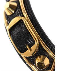 Balenciaga - Black Studded Leather Wraparound Bracelet - Lyst