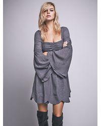 Free People - Gray Duchess Babydoll Dress - Lyst
