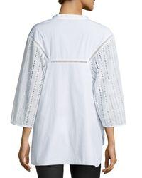 Thakoon - White Eyelet-sleeve Cotton Tunic - Lyst