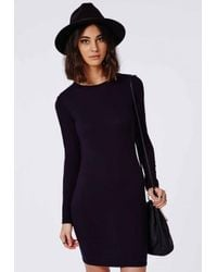 Missguided - Blue Long Sleeve Jersey Bodycon Dress Navy - Lyst