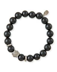 Sheryl Lowe | Black 10mm Onyx & Pave Diamond Rondelle Bracelet | Lyst