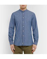Aspesi - Blue Cotton Grandad-Collar Shirt for Men - Lyst