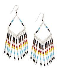 Nakamol | Chevron Beaded Chandelier Earrings Blacklight Bluered | Lyst