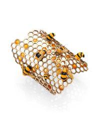 Delfina Delettrez | Metallic To Bee Or Not To Bee Honeycomb Opencuff Bracelet | Lyst