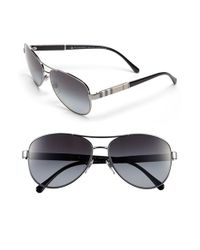 Burberry - Metallic 'london Check' 59mm Metal Aviator Polarized Sunglasses - Gunmetal (nordstrom Exclusive) - Lyst