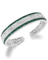 Macy's | Green Emerald (1-1/3 Ct. T.w.) And Diamond (1/10 C.t. T.w.) Cuff Bracelet In Sterling Silver | Lyst
