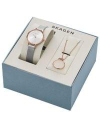 Skagen | Pink Skw1069 Women's Anita Mesh Bracelet Strap Watch And Necklace Gift Box | Lyst