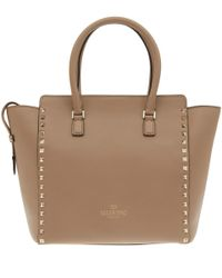 Valentino - Natural Beige Rockstud Leather Bag - Lyst