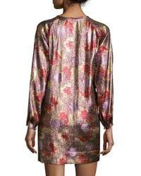 Isabel Marant - Metallic Long-sleeve Tie-waist Dress - Lyst