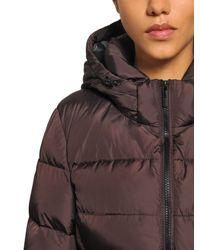 Add Purple Hooded Nylon Down Jacket