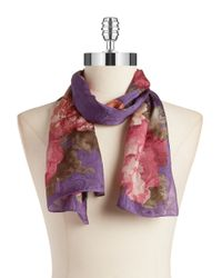 Lauren by Ralph Lauren | Purple Printed Silk Scarf | Lyst