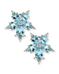 Paul Morelli - Blue Large Stellanise Aquamarine & Diamond Stud Earrings - Lyst