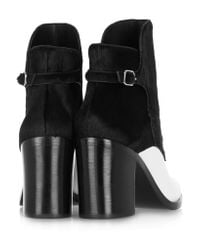 Alexander Wang Black Clarice Calf Hair And Leather Ankle Boots