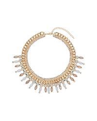 TOPSHOP - Metallic Premium Chunky Chain Stone Collar - Lyst