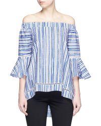 Nicholas Blue Washed Stripe Print Cotton Off-shoulder Top