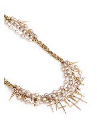 Erickson Beamon - Metallic Iron Butterfly' Cross Pendant Glass Pearl Necklace - Lyst