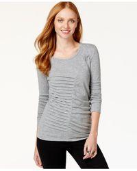 DKNY | Gray Pleated Asymmetrical Top | Lyst