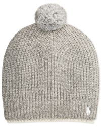 Polo Ralph Lauren | Gray Two-tone Ribbed Beanie With Pom-pom for Men | Lyst