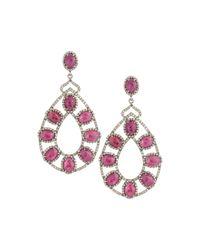 Bavna - Red Composite Ruby & Diamond Double-drop Earrings - Lyst