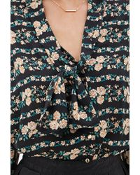 Forever 21 | Black Rose Printed Tie-neck Blouse | Lyst