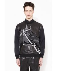 3.1 Phillip Lim - Black Leather Front Horse Pullover - Lyst