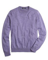 Brooks Brothers | Purple Saxxon Wool Crewneck Sweater for Men | Lyst