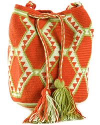 Muzungu Sisters - Orange Wayuu Mochila Mini Shoulder Bag - Lyst