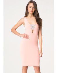 Bebe Pink Stone Cutout Midi Dress