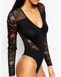 ASOS | Black Fishnet And Lace Mix Plunge Neck Body With Thong | Lyst