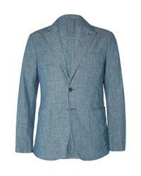 Aspesi | Blue Slim-Fit Chambray Blazer for Men | Lyst