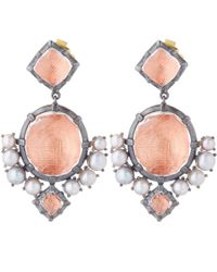 Larkspur & Hawk - Red Silver Quartz And Pearl Bella Compass Earrings - Lyst