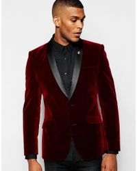 ASOS | Purple Skinny Blazer In Velvet for Men | Lyst