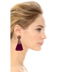 Oscar de la Renta | Red Short Silk Tassel Earrings - Claret | Lyst