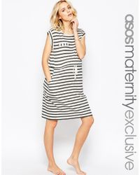ASOS - Black Maternity Lounge Dress In Stripe With Tie Waist - Lyst