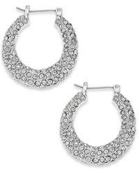 Lauren by Ralph Lauren Metallic Silver-Tone Pave Crystal Hoop Earrings