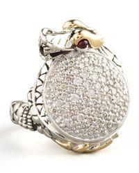 John Hardy Metallic Pave Diamond Dragon Ring Small