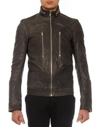 Rick Owens Gray Vicious Dark Dust Leather Jacket for men