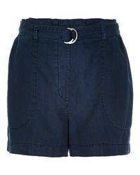River Island - Blue Navy Denim-look D-ring Shorts - Lyst
