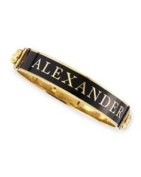 Alexander McQueen Black Small Logo Enamel Cuff