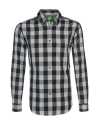 BOSS Green | Black 'c-bua' | Regular Fit, Cotton Button Down Shirt for Men | Lyst