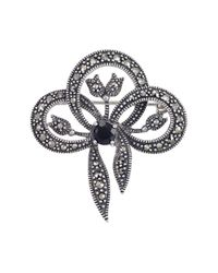 Lord & Taylor | Metallic Sterling Silver And Marcasite Onyx Fact Bow Pin | Lyst