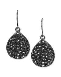 Kenneth Cole - Black Hematitetone Pave Crystal Teardrop Earrings - Lyst