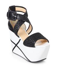 Calvin Klein   Black Pauline Weave Platform Wedge Sandals   Lyst