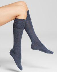 Hue Blue Cuffed Tweed Knee Socks