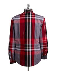 Guess Red Clark Coated Plaid Sportshirt for men