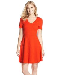 Trina Turk | Red 'laila' Fit & Flare Sweater Dress | Lyst