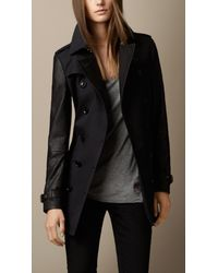 Burberry - Black Leather And Technical Cotton Trench Coat - Lyst