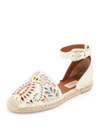 Valentino Natural Embroidered Leather Espadrilles